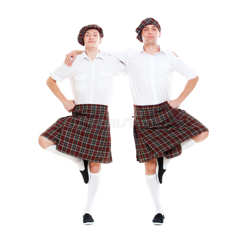 Portrait of two scottish dancers royalty free stock image