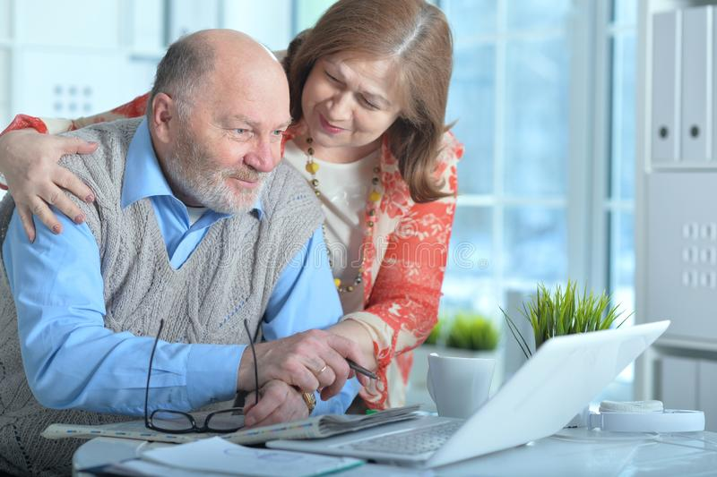 Portrait of two senior business people or bookkeepers working with laptop in office stock image