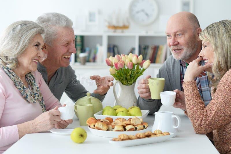 Two Senior couples drinking tea stock photography