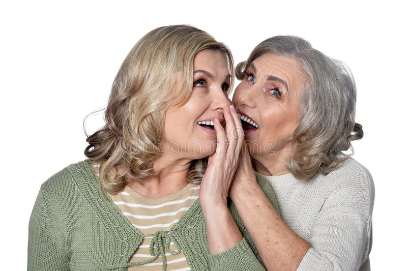 Portrait of two smiling women on white background royalty free stock images