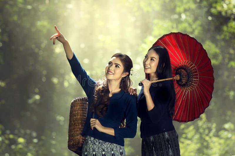 Portrait two thai women stock photo