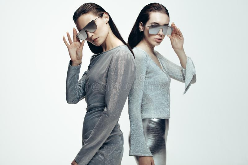 Women in stylish futuristic look royalty free stock photography