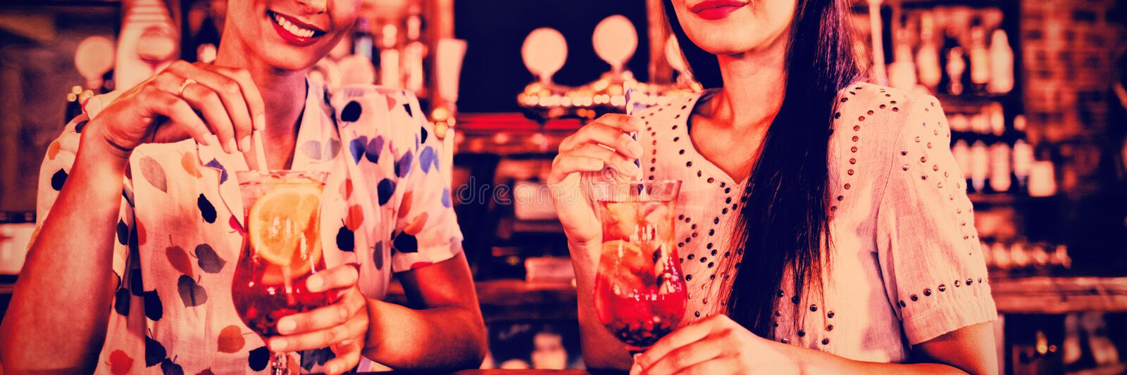 Portrait of two young women having cocktail drinks royalty free stock photo