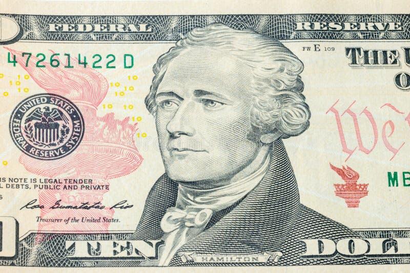 Portrait of U.S. president Alexander Hamilton on United States ten-dollar bill macro.  stock photography