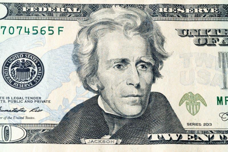 Portrait of U.S. president Andrew Jackson on United States twenty-dollar bill macro.  royalty free stock images