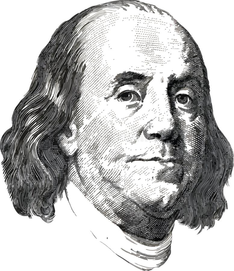 Benjamin Franklin. Portrait of U.S. statesman, inventor, and diplomat Benjamin Franklin as he looks on one hundred dollar bill obverse, isolated on white royalty free illustration