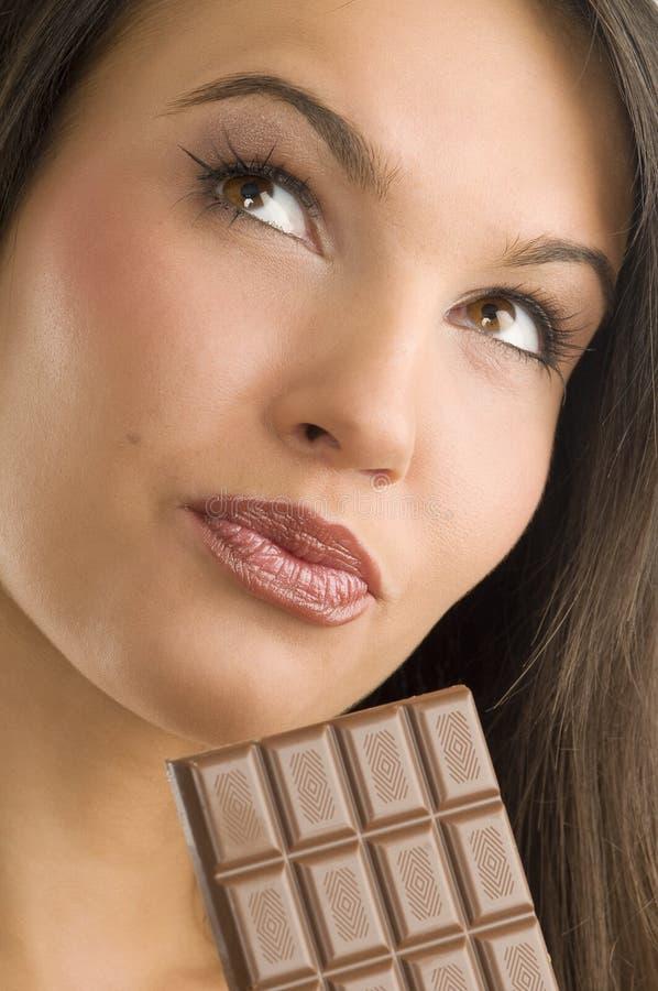 Portrait und Schokolade lizenzfreies stockbild