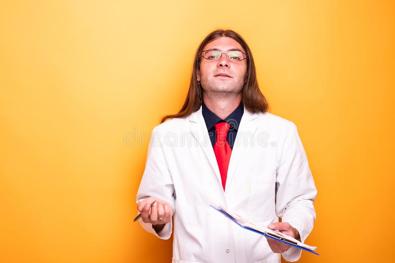 Portrait of undecided medical personnel royalty free stock photography
