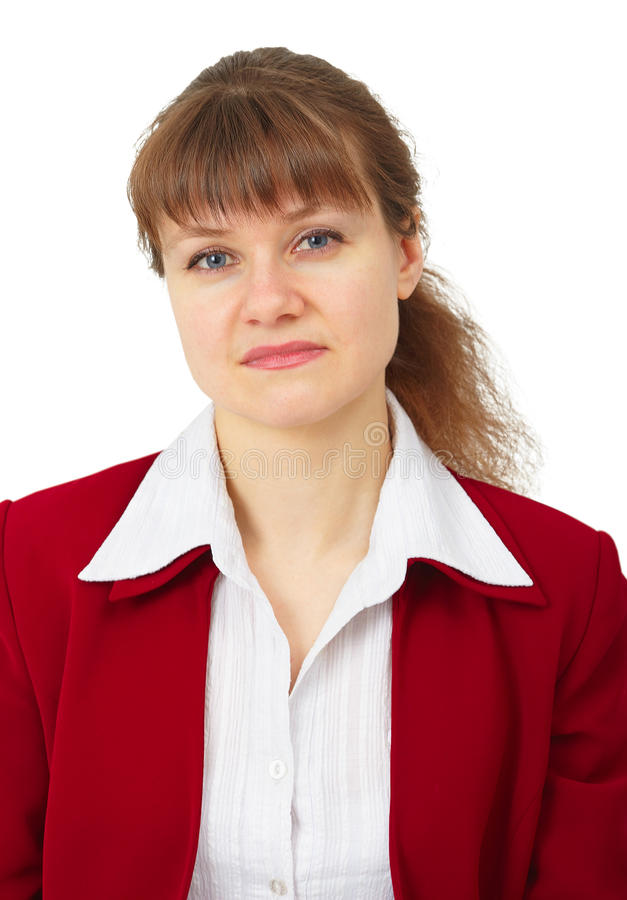 Portrait of unhappy business woman on white royalty free stock photography