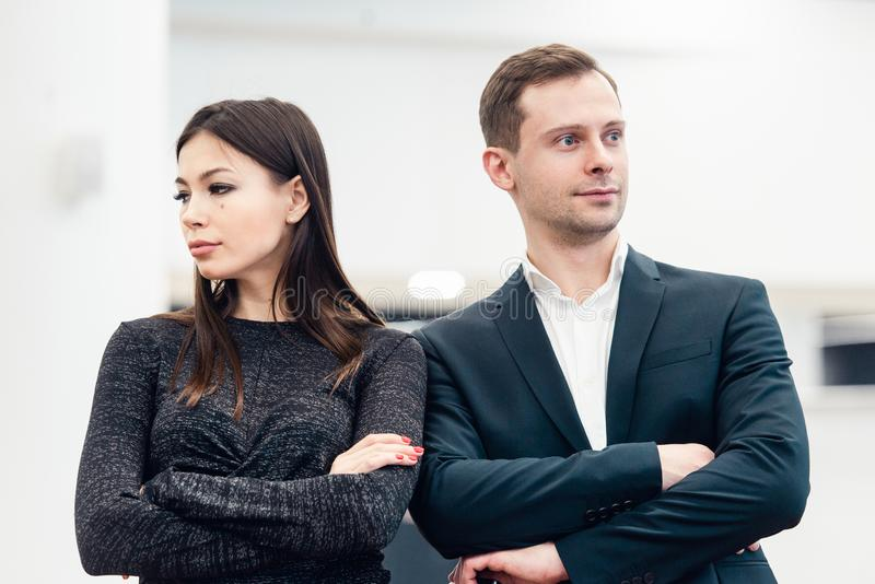Portrait of unhappy couple not speaking after having dispute. Concept of unhappiness family stock photo