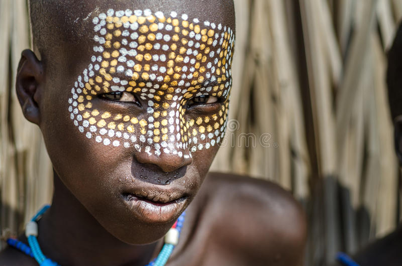 Portrait of unidentified boy from Arbore tribe, Ethiopia royalty free stock images