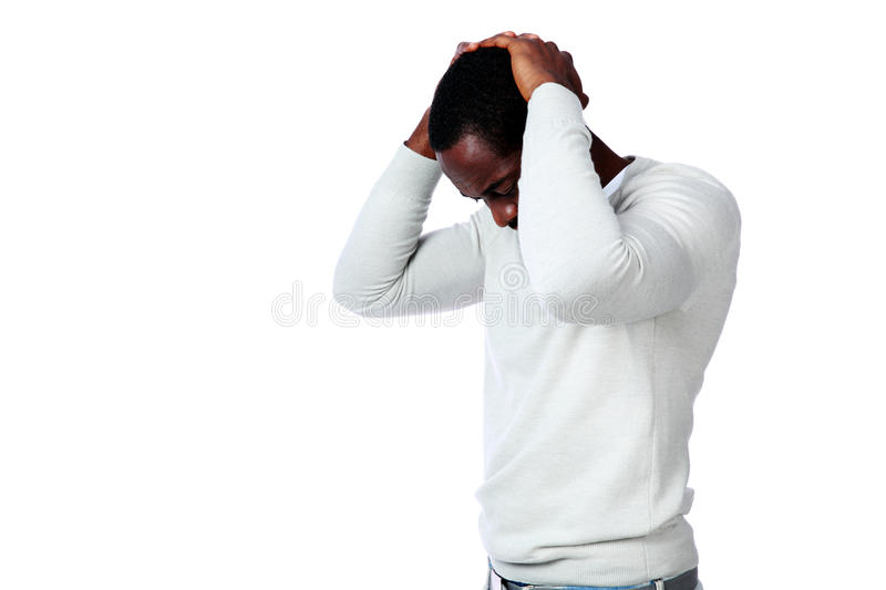 Portrait of upset african man royalty free stock images