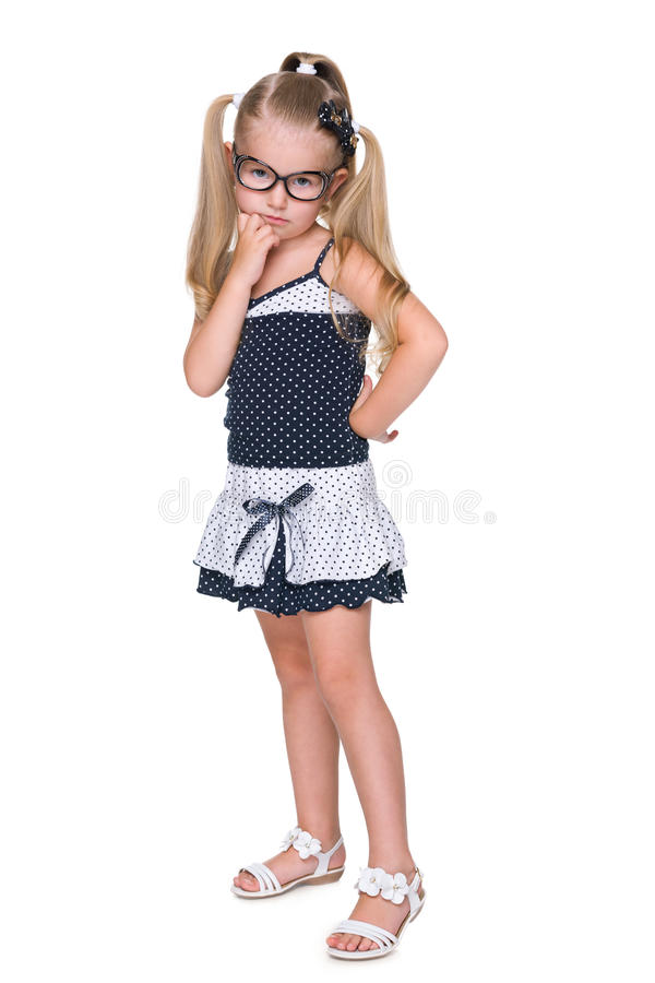 Portrait of an upset clever little girl stock photography