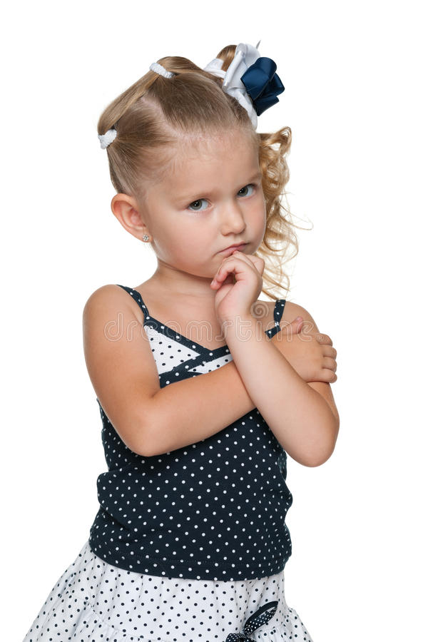 Portrait of an upset little girl stock photography