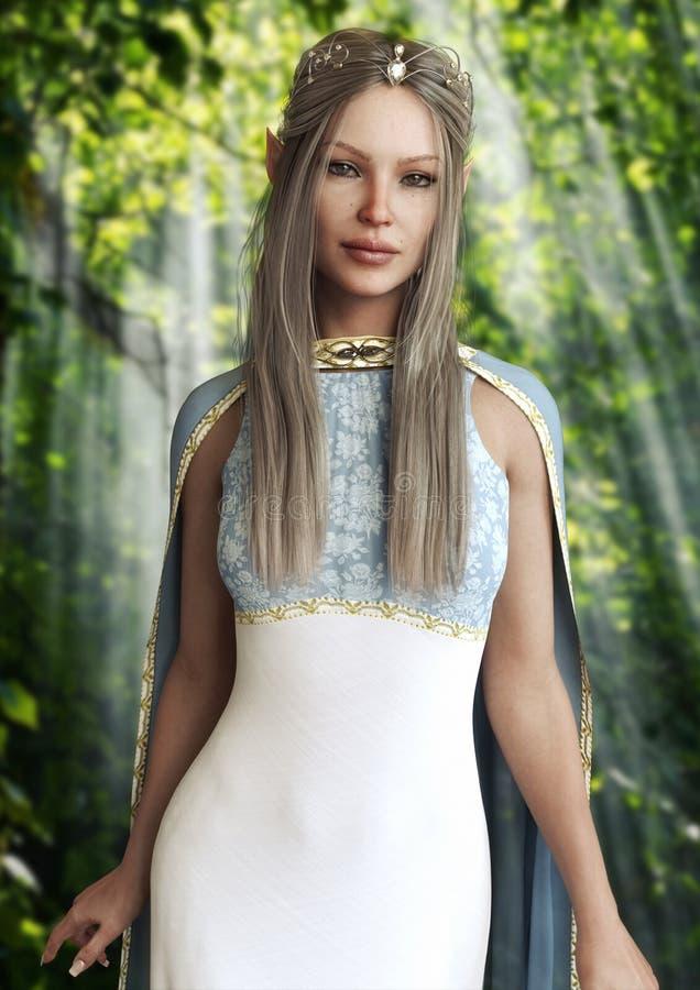 Portrait vertical de la reine des elfes femelles avec une robe élégante et un diadème avec de longs cheveux de platine illustration libre de droits
