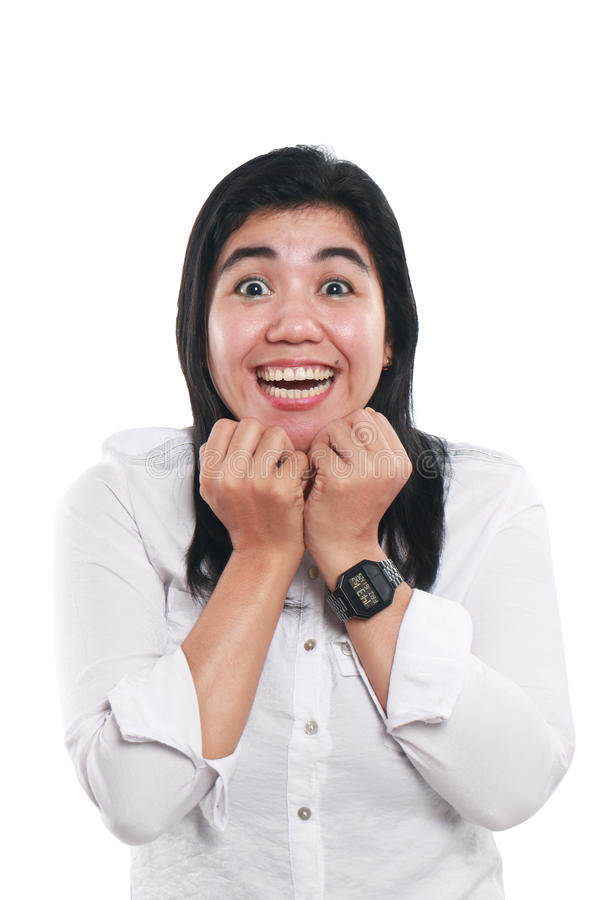 Portrait of Very Excited Young Asian Woman stock photography