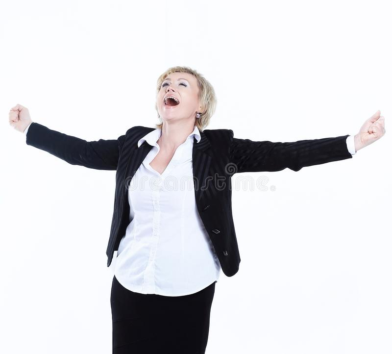 Portrait of a very happy business woman royalty free stock photo