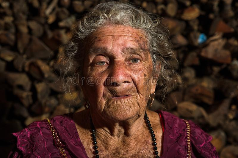 Portrait of a very old Tzutujil Maya woman stock photography