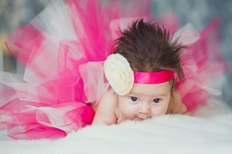 Portrait of very sweet little baby girl stock image