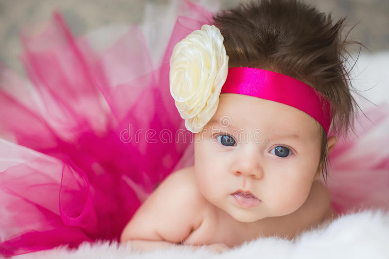 Portrait of very sweet little baby girl royalty free stock image