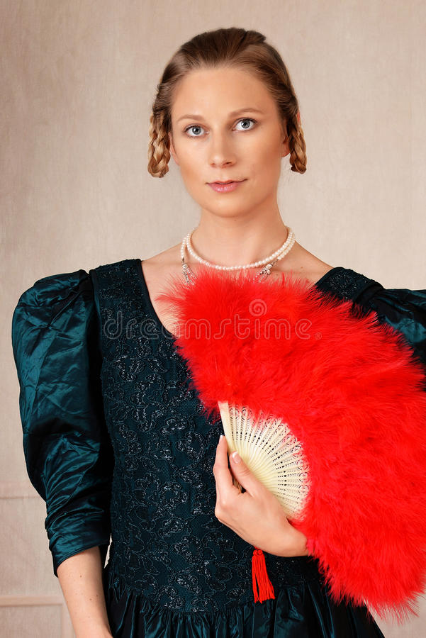 Portrait victorian woman with fan stock images