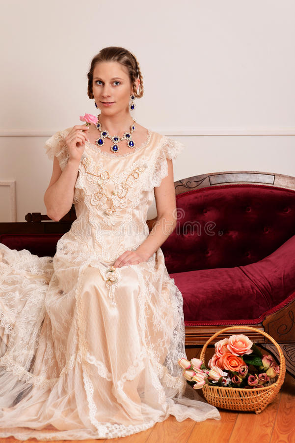 Portrait victorian woman with rose royalty free stock photos