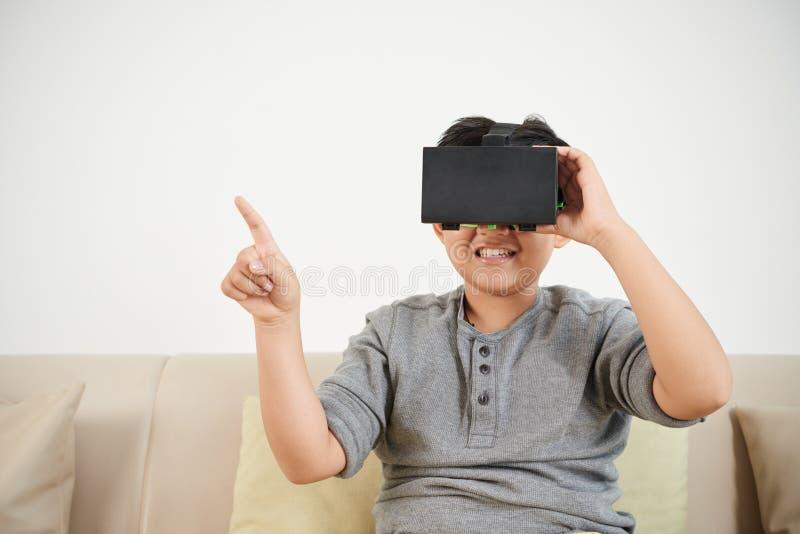 Enjoying virtual reality stock images
