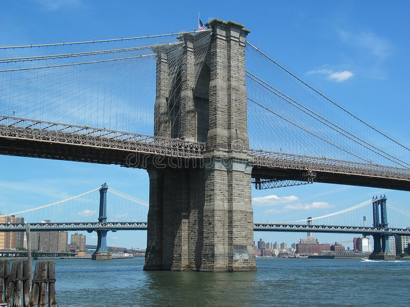 Portrait View of Brooklyn Bridge Tower, Manhattan Bridge in Back stock photo