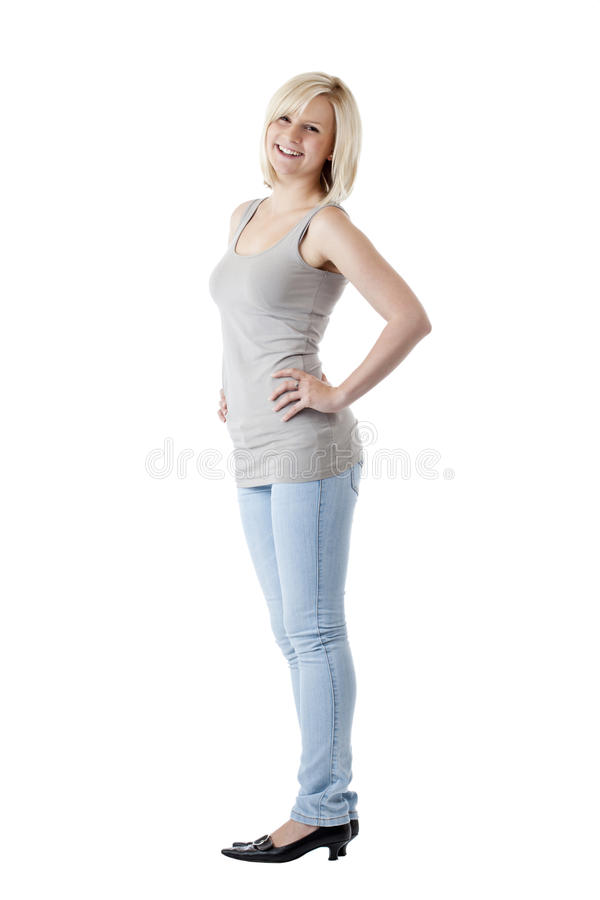 Portrait von jungem blondem nehmen ab und lächeltfrau lizenzfreie stockfotos