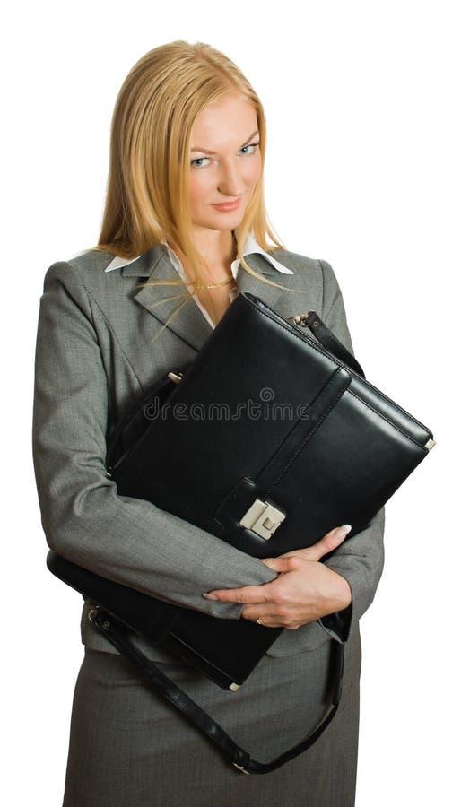 Portrait von recht blondem mit einem Fall stockfotos