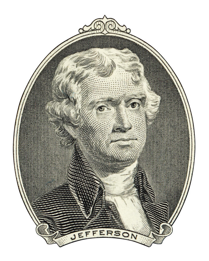 Portrait von Thomas Jefferson lizenzfreies stockbild