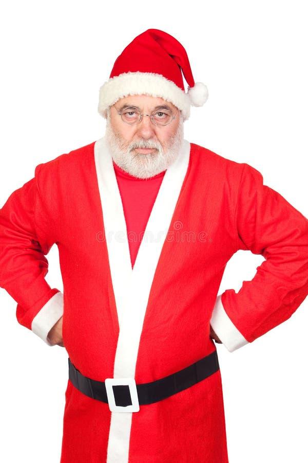 Portrait von verärgertem Weihnachtsmann stockbild