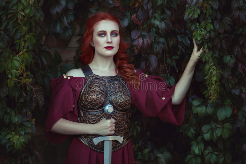 Portrait of a warrior woman. royalty free stock photo