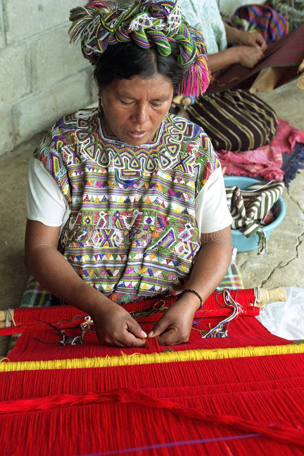 Portrait of weaving Ixil maya Indian woman. Guatemala, Retalhuleu Department, El Triumfo Village: Ixil Indian, Woman, In Colorful Costume, Clothing, With special stock photos