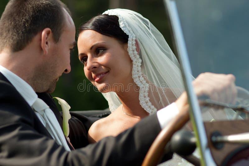 Portrait of wedding couple stock images