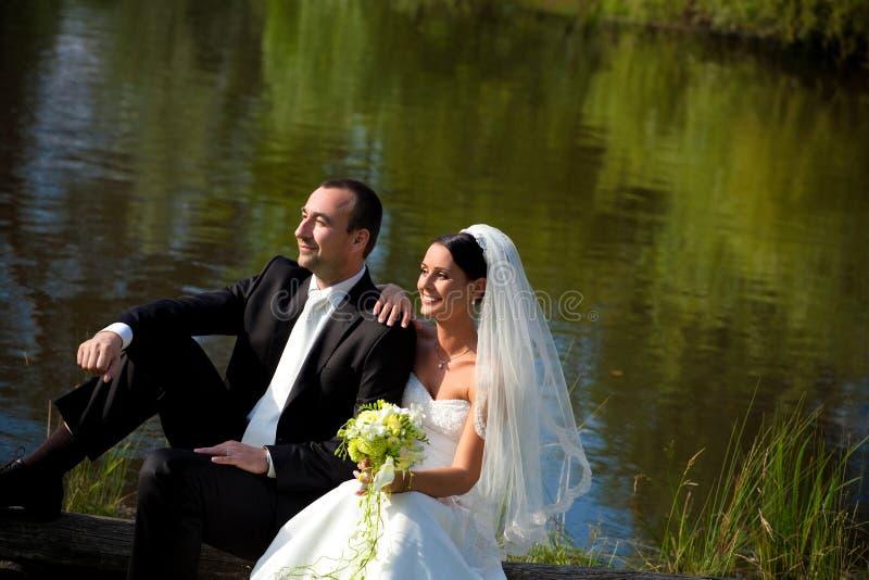 Portrait of wedding couple stock photos