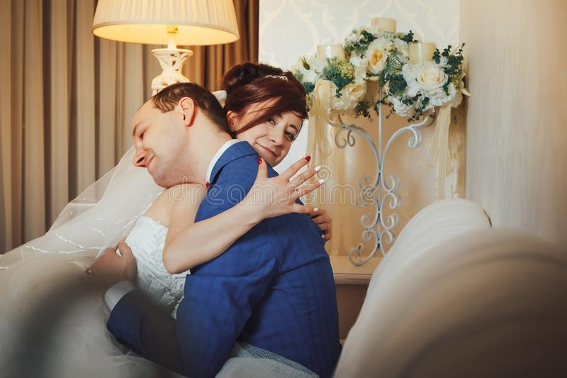 Portrait wedding couple indoors royalty free stock photo