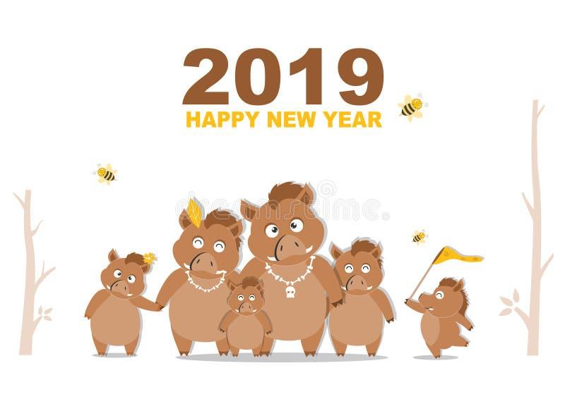 Portrait wild boar family calendar 2019 design,The year of the wild boar cards templates,Vector illustrations. vector illustration