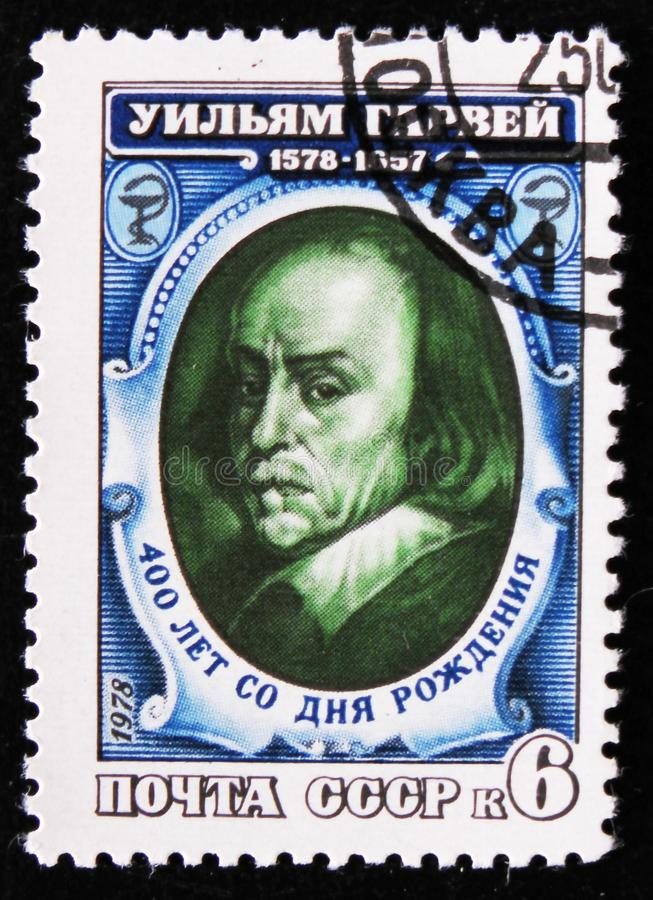 Portrait of William Harvey, physician, the founder of physiology and embryology, circa 1978. MOSCOW, RUSSIA - APRIL 2, 2017: A post stamp printed in USSR shows a royalty free stock photography