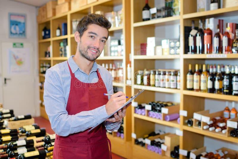 Portrait wine shop owner stock photography