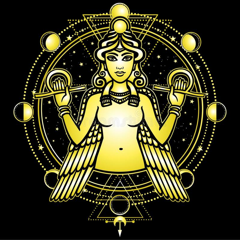 Portrait of the winged goddess Ishtar. Sacred geometry, mystical circle, phases of the moon. Gold imitation. Vector illustration isolated on a black background stock illustration