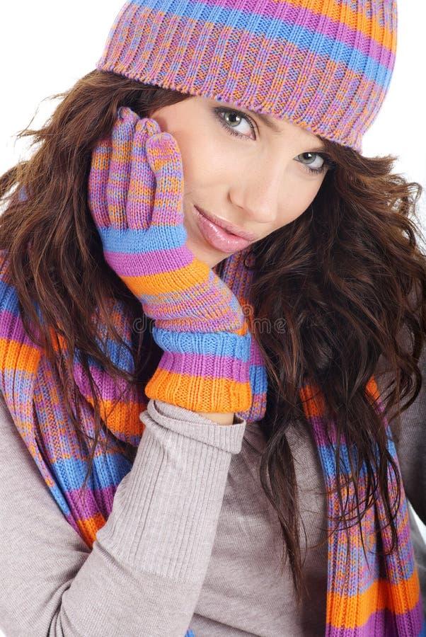 Portrait of winter girl stock images