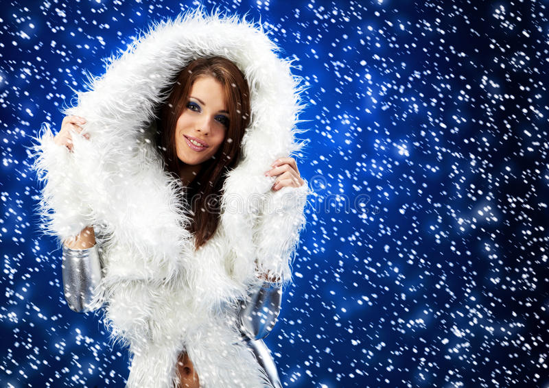 Portrait of a winter woman, royalty free stock images