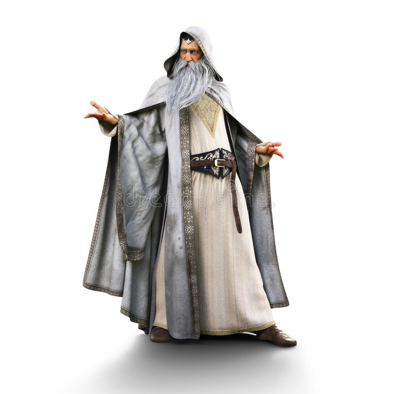 Portrait of a wizard preparing to cast a spell on an isolated white background. stock illustration