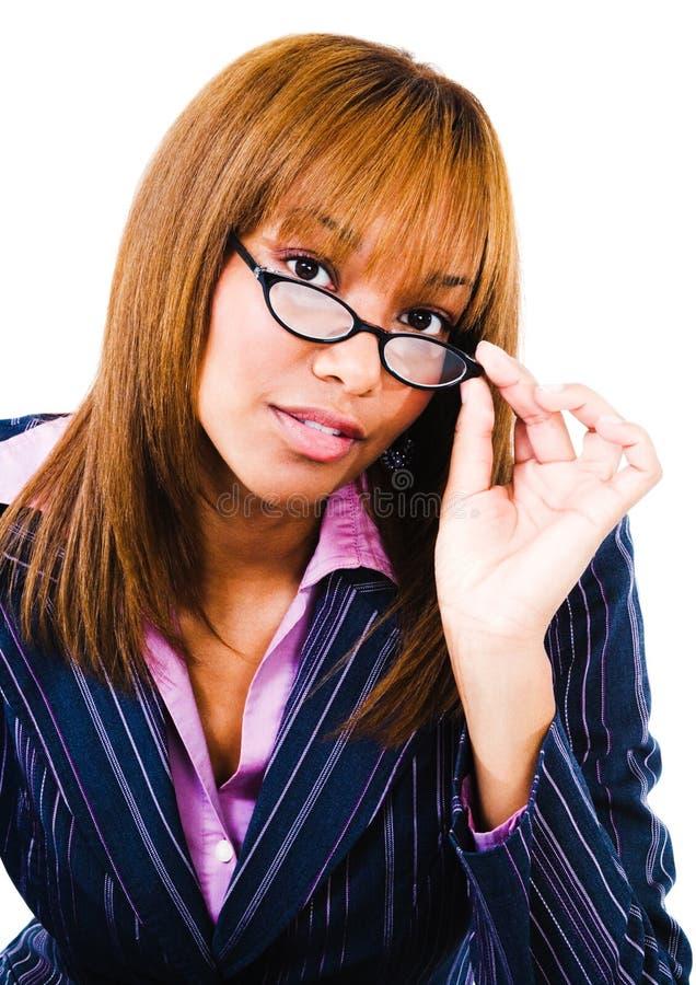 Download Portrait Of Woman Adjusting Eyeglasses Stock Photo - Image: 9111884