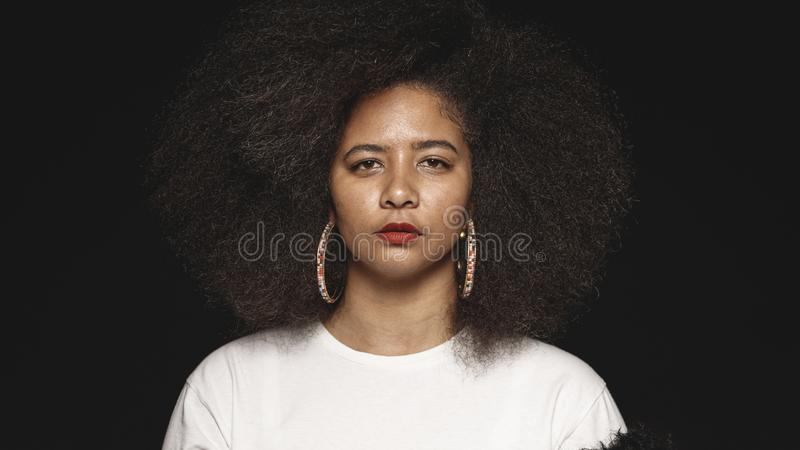 Portrait of a woman in afro hairstyle stock photo