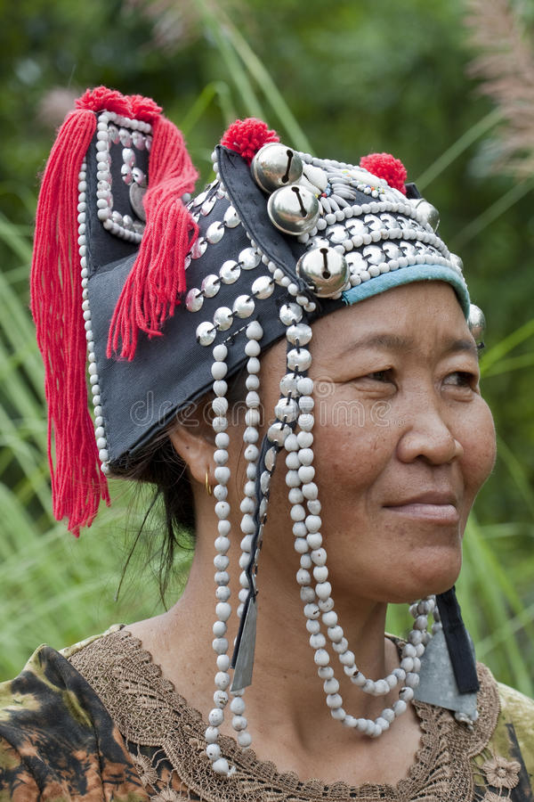 Portrait woman from Asia, Akha stock images