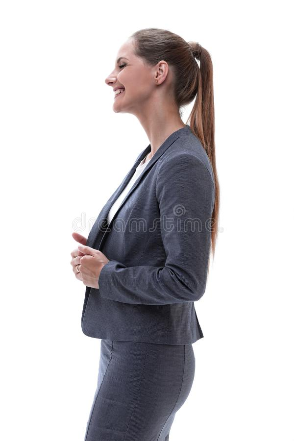 Portrait of a woman assistant. side view. royalty free stock images