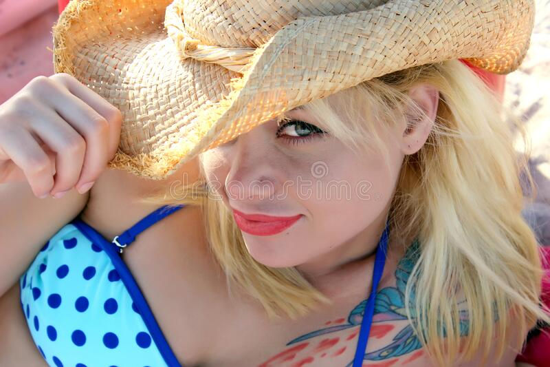 Portrait of woman at the beach royalty free stock photos