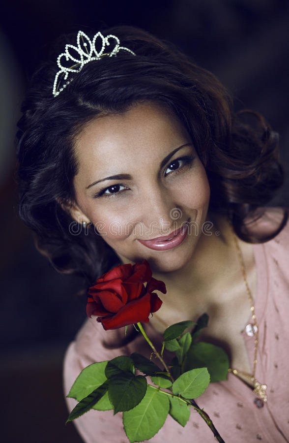 Portrait woman with beautiful rose. royalty free stock photography